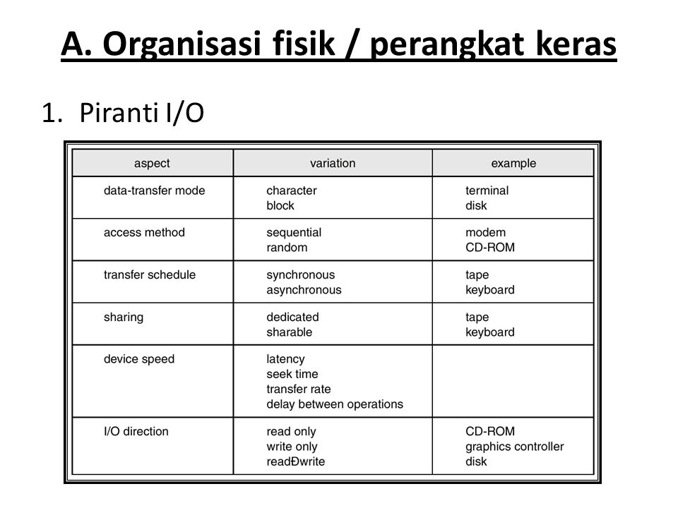 A. Organisasi fisik / perangkat keras