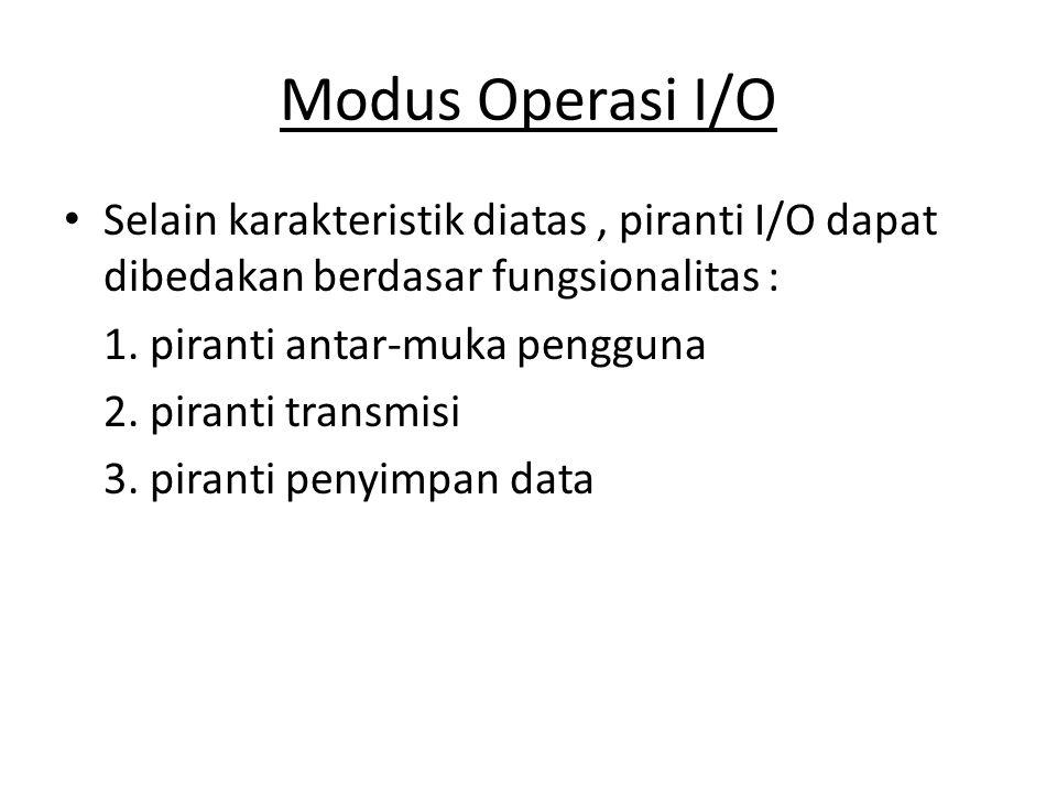 Modus Operasi I/O Selain karakteristik diatas , piranti I/O dapat dibedakan berdasar fungsionalitas :