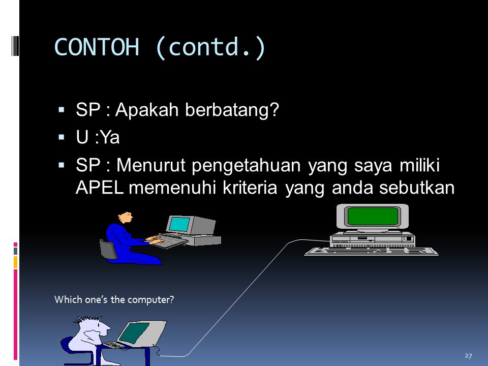 CONTOH (contd.) SP : Apakah berbatang U :Ya