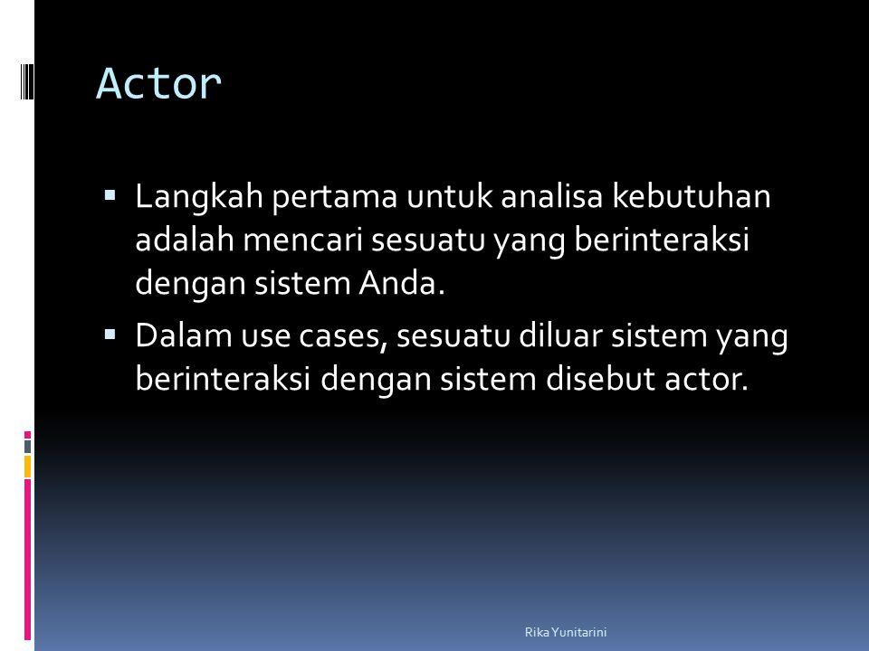 Actor Langkah pertama untuk analisa kebutuhan adalah mencari sesuatu yang berinteraksi dengan sistem Anda.