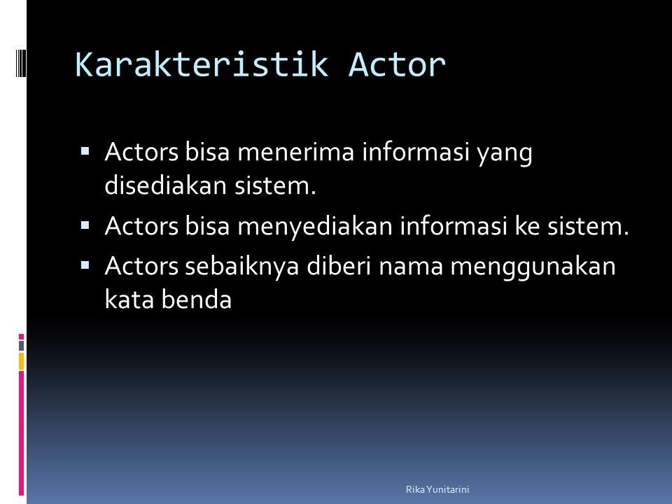 Karakteristik Actor Actors bisa menerima informasi yang disediakan sistem. Actors bisa menyediakan informasi ke sistem.