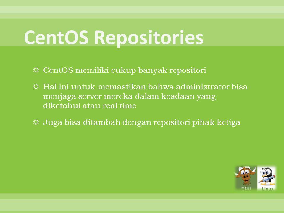 CentOS Repositories CentOS memiliki cukup banyak repositori