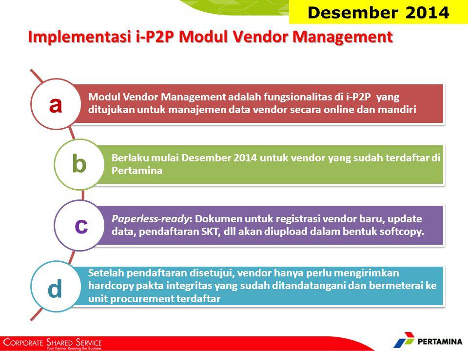 Fitur/fungsionalitas yang tersedia pada Modul Vendor Management