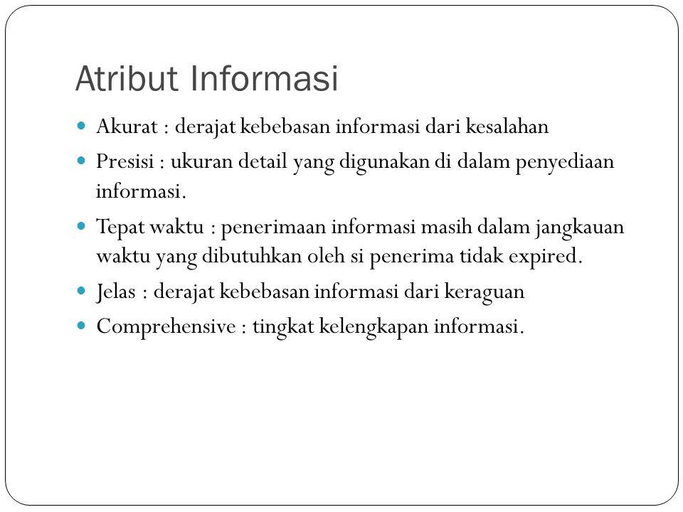 Atribut Informasi Akurat : derajat kebebasan informasi dari kesalahan