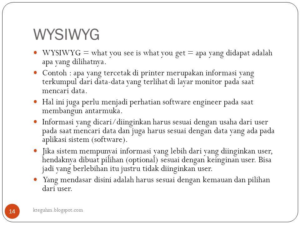 WYSIWYG WYSIWYG = what you see is what you get = apa yang didapat adalah apa yang dilihatnya.