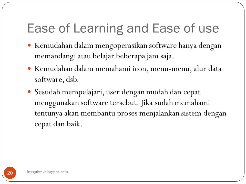 Ease of Learning and Ease of use