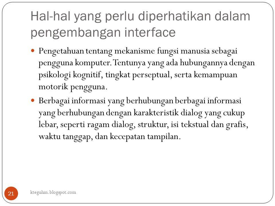Hal-hal yang perlu diperhatikan dalam pengembangan interface