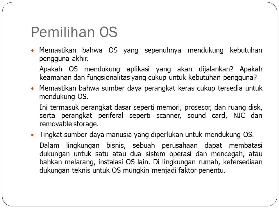 Pemilihan OS Memastikan bahwa OS yang sepenuhnya mendukung kebutuhan pengguna akhir.