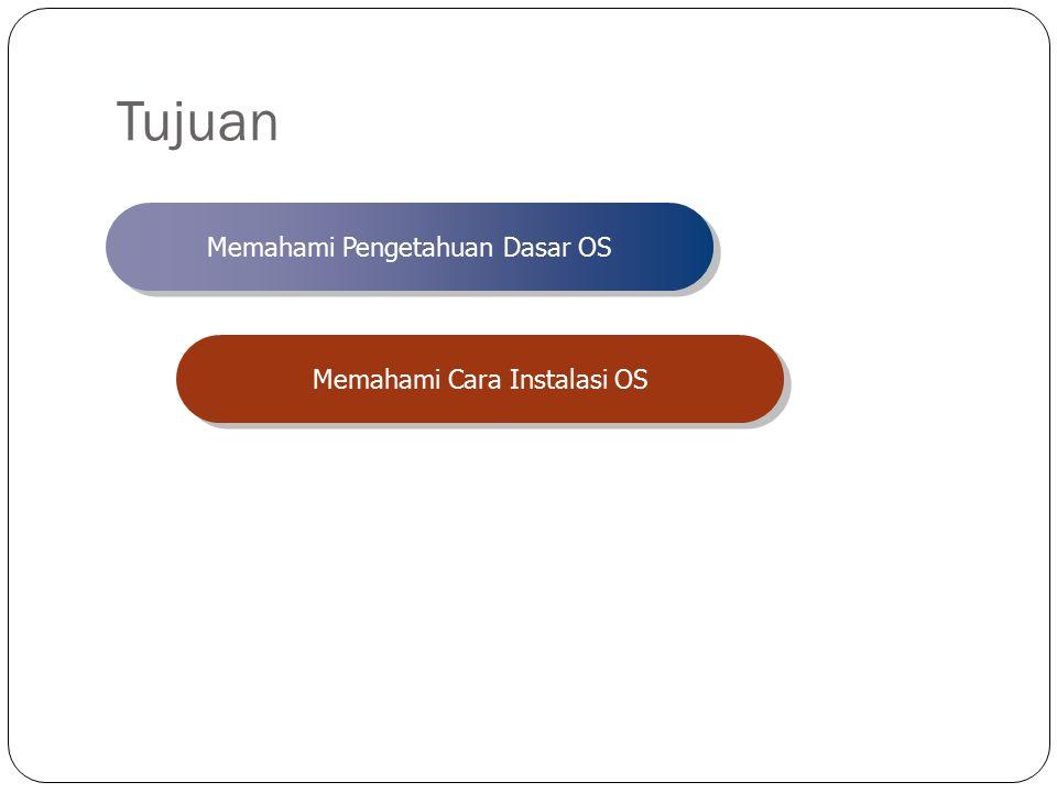 Tujuan Memahami Pengetahuan Dasar OS Memahami Cara Instalasi OS