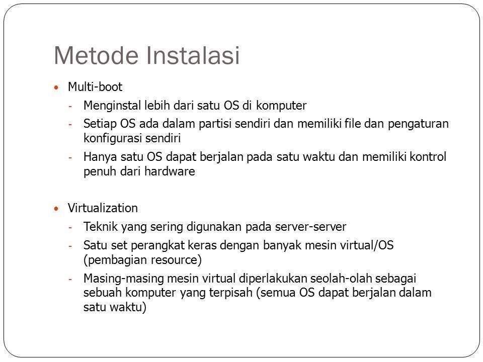 Metode Instalasi Multi-boot Menginstal lebih dari satu OS di komputer
