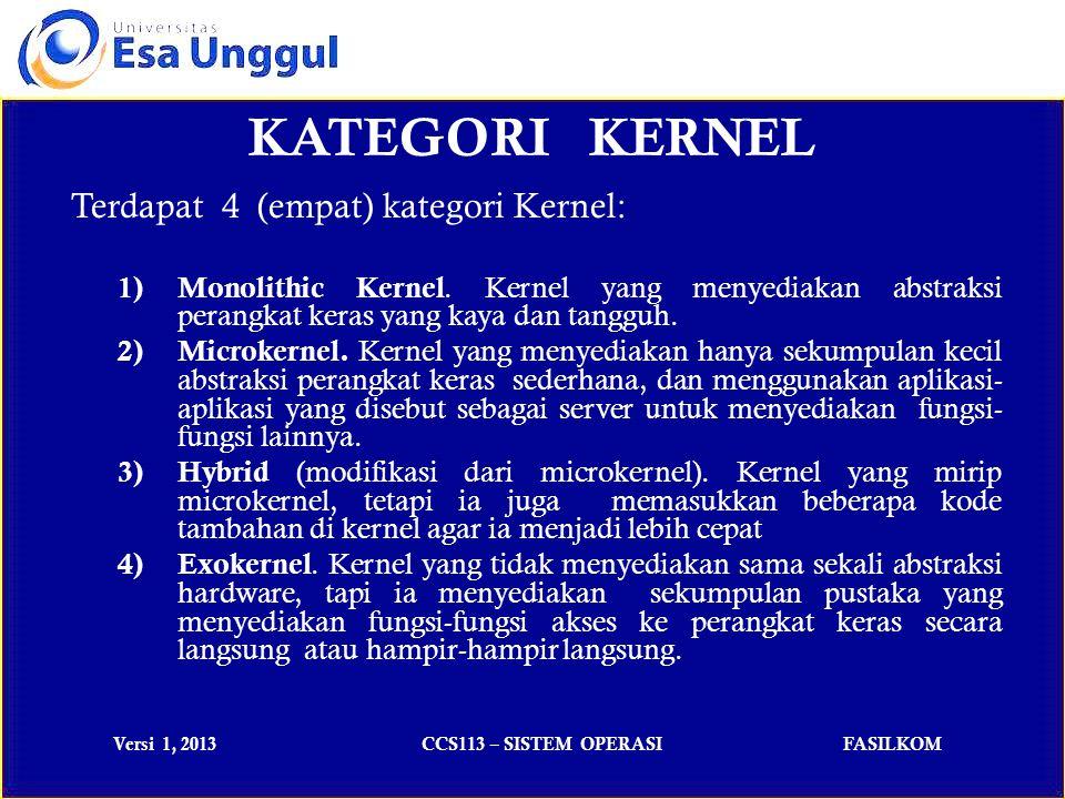 KATEGORI KERNEL Terdapat 4 (empat) kategori Kernel: