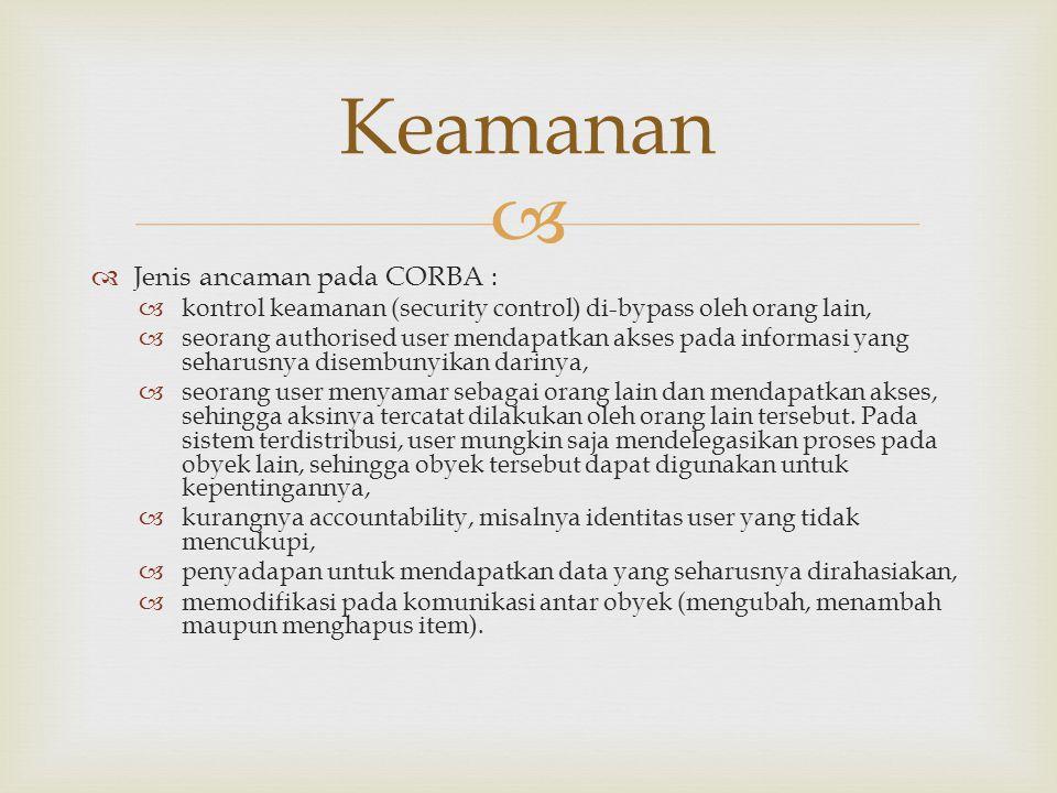Keamanan Jenis ancaman pada CORBA :