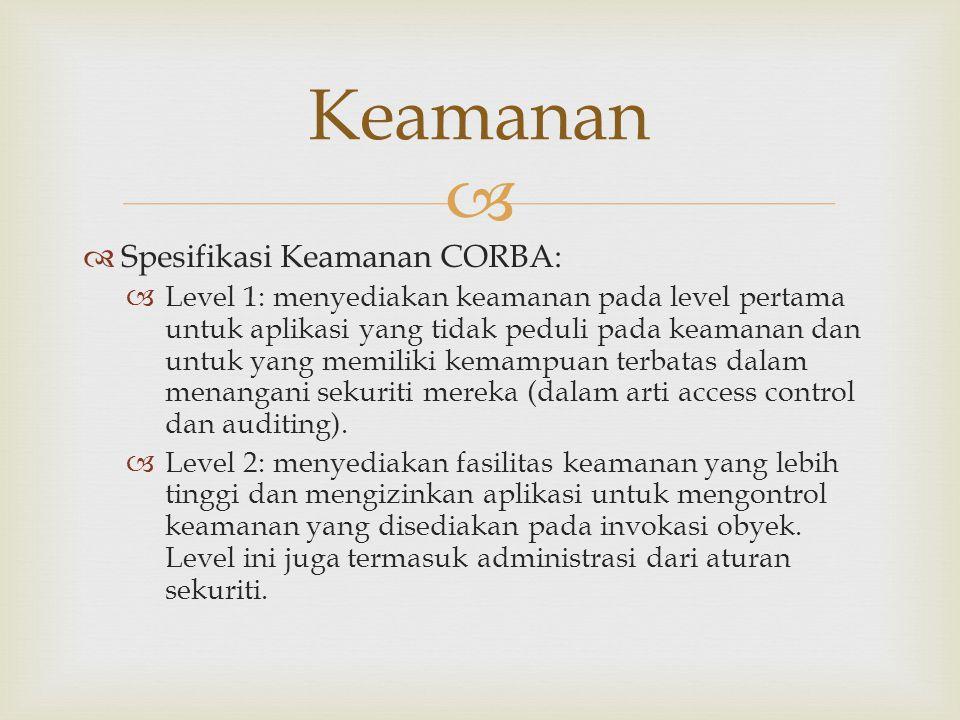 Keamanan Spesifikasi Keamanan CORBA: