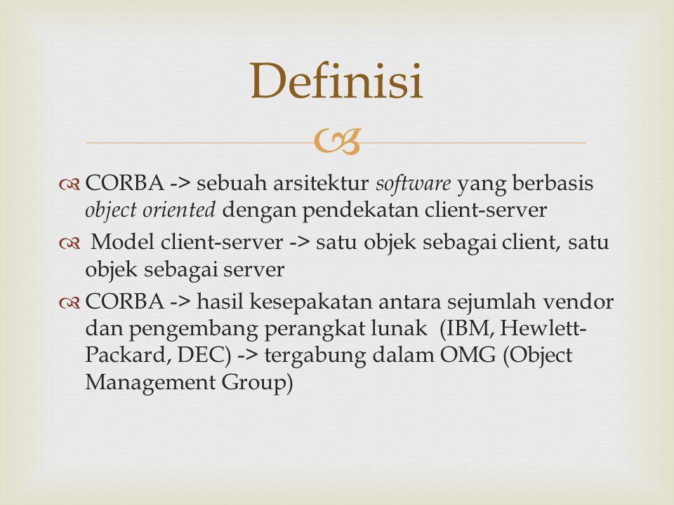 Definisi CORBA -> sebuah arsitektur software yang berbasis object oriented dengan pendekatan client-server.