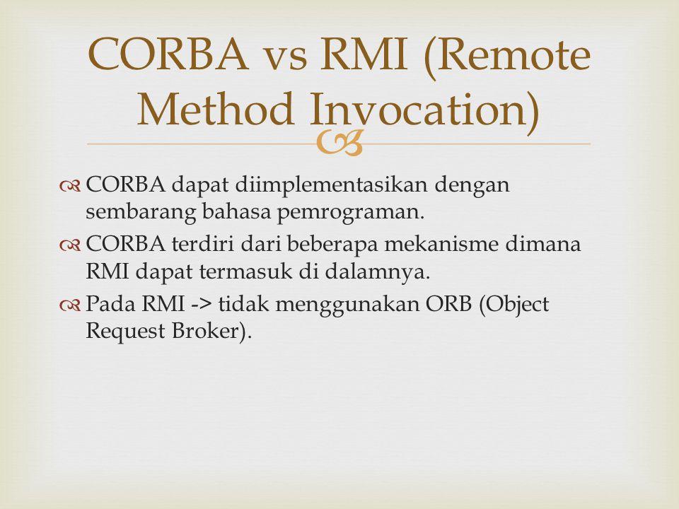 CORBA vs RMI (Remote Method Invocation)