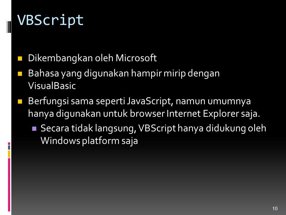 VBScript Dikembangkan oleh Microsoft