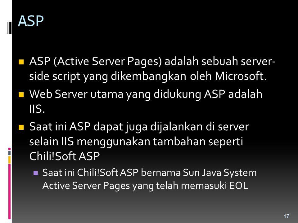 ASP ASP (Active Server Pages) adalah sebuah server- side script yang dikembangkan oleh Microsoft. Web Server utama yang didukung ASP adalah IIS.