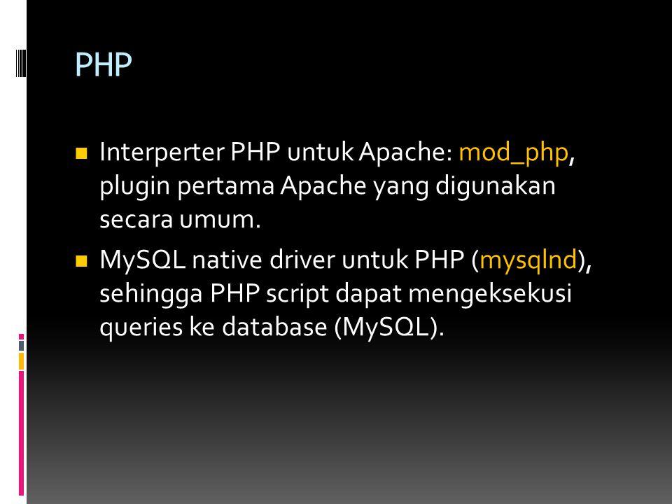 PHP Interperter PHP untuk Apache: mod_php, plugin pertama Apache yang digunakan secara umum.