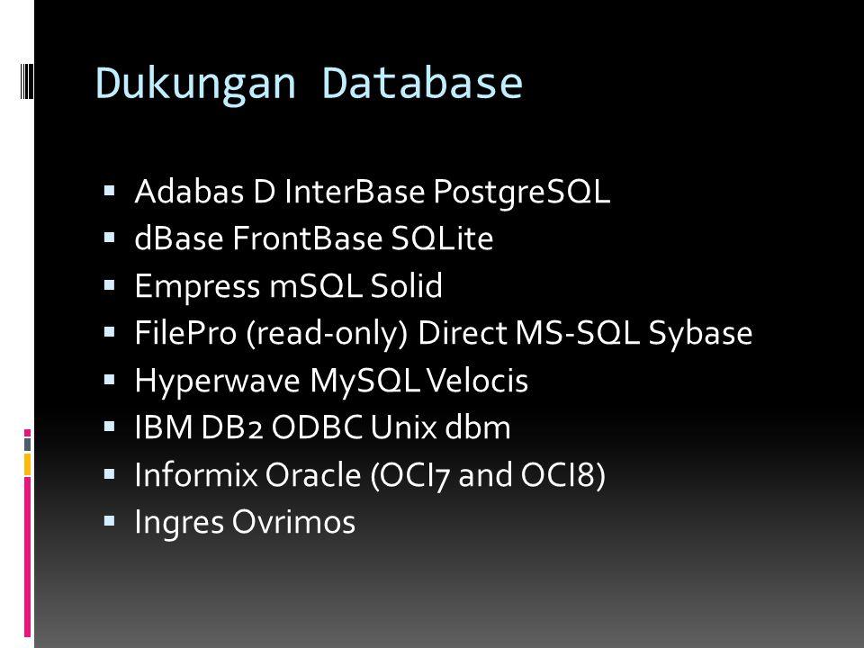 Dukungan Database Adabas D InterBase PostgreSQL dBase FrontBase SQLite
