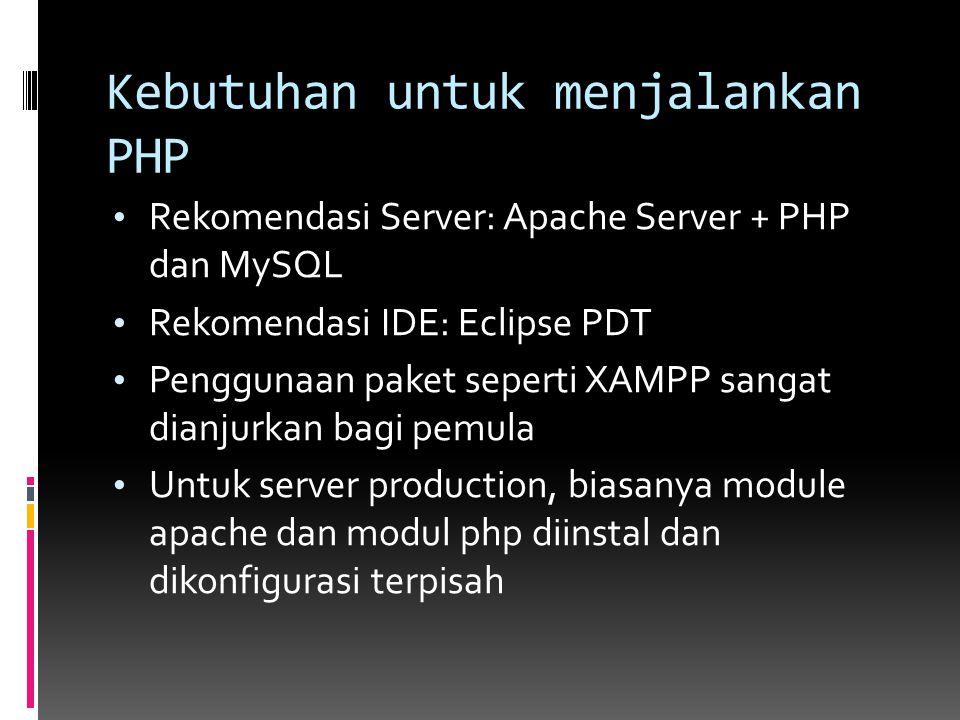 Kebutuhan untuk menjalankan PHP