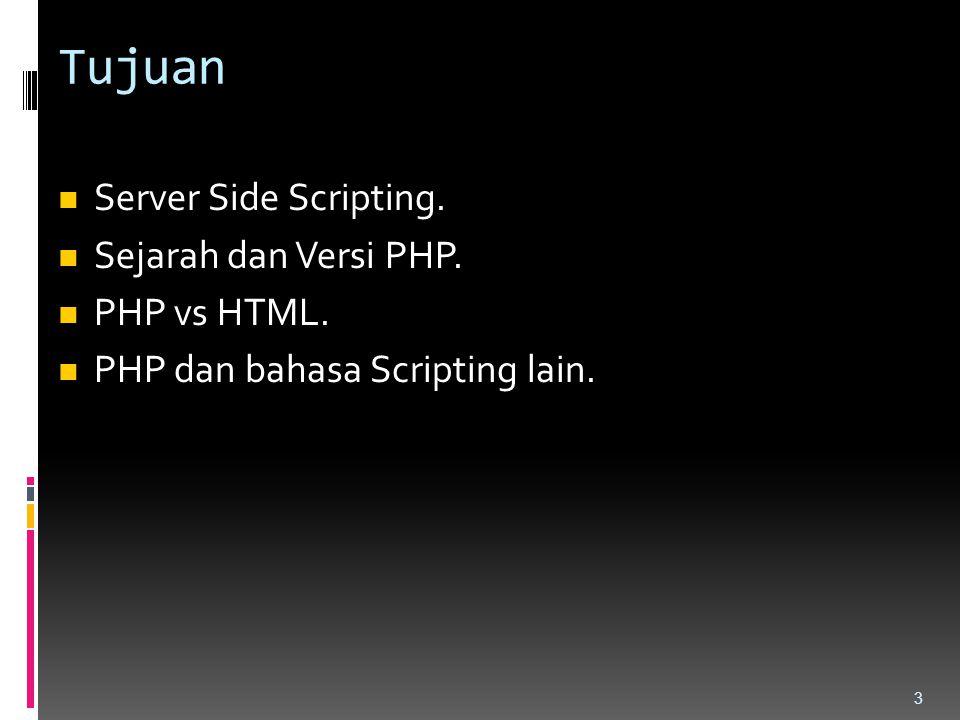 Tujuan Server Side Scripting. Sejarah dan Versi PHP. PHP vs HTML.