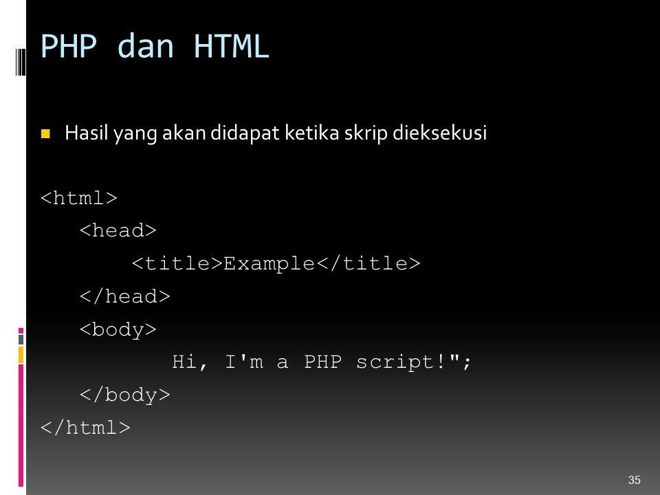 PHP dan HTML Hasil yang akan didapat ketika skrip dieksekusi