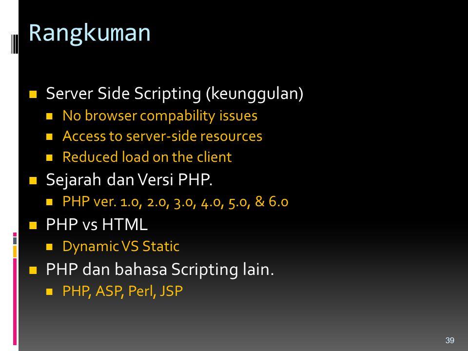 Rangkuman Server Side Scripting (keunggulan) Sejarah dan Versi PHP.
