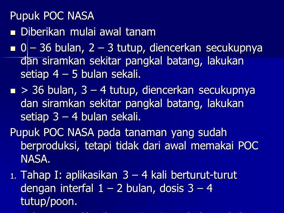 Pupuk POC NASA Diberikan mulai awal tanam.