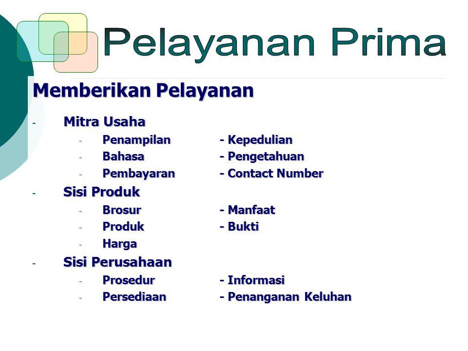 Pelayanan Prima Memberikan Pelayanan Mitra Usaha Sisi Produk