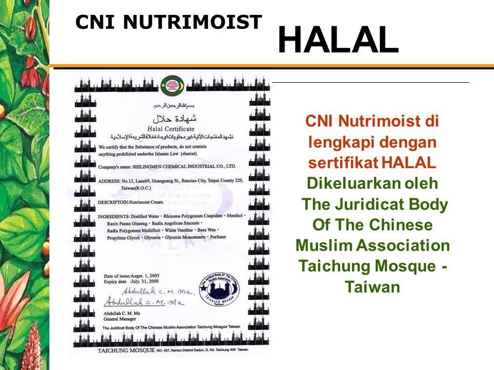 CNI Nutrimoist di lengkapi dengan sertifikat HALAL