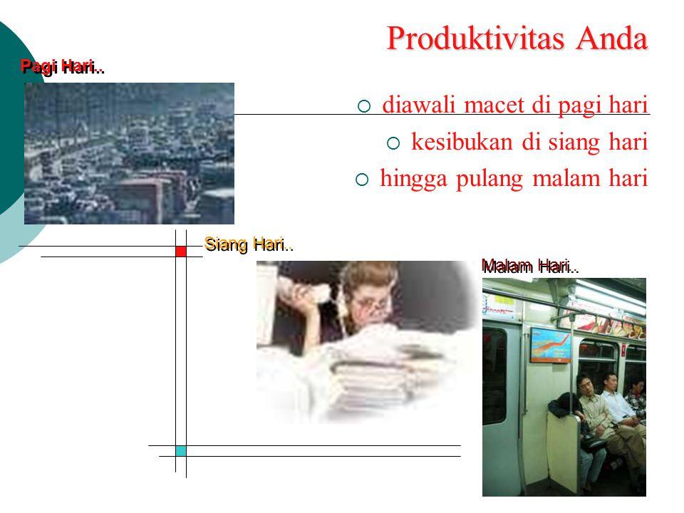 Produktivitas Anda diawali macet di pagi hari kesibukan di siang hari