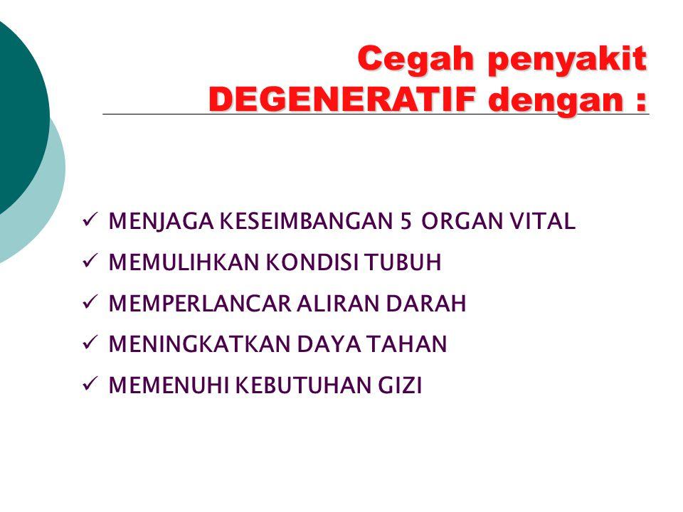 Cegah penyakit DEGENERATIF dengan :