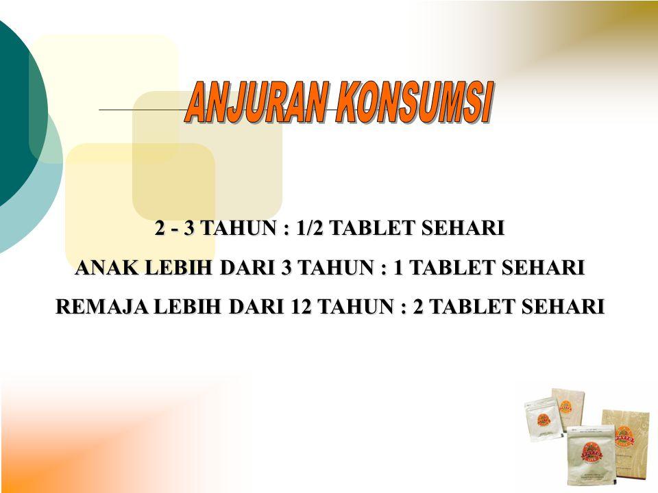 ANJURAN KONSUMSI 2 - 3 TAHUN : 1/2 TABLET SEHARI