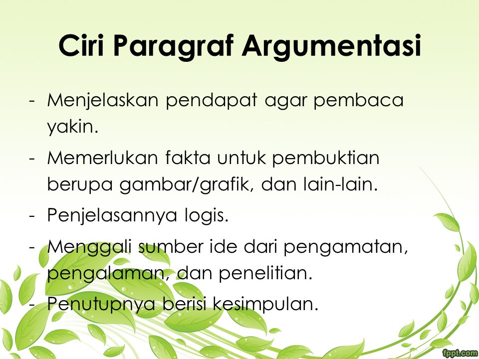 Ciri Paragraf Argumentasi