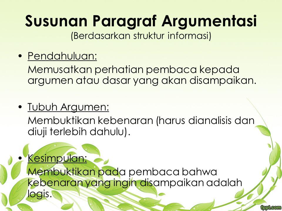 Susunan Paragraf Argumentasi (Berdasarkan struktur informasi)