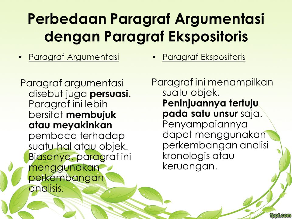 Perbedaan Paragraf Argumentasi dengan Paragraf Ekspositoris