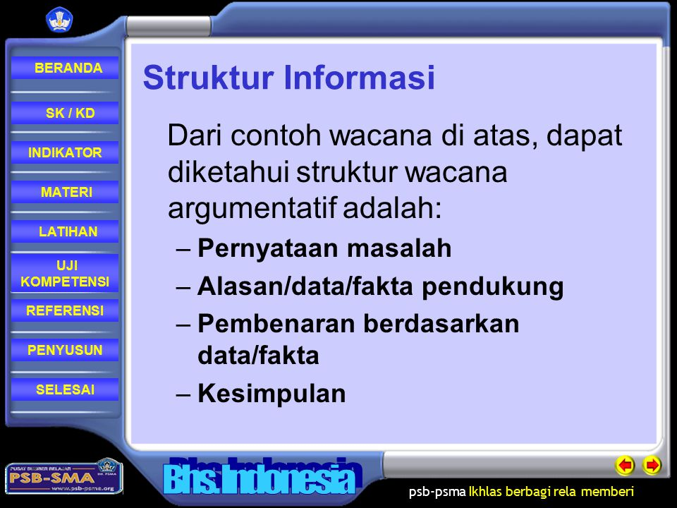 Struktur Informasi Dari contoh wacana di atas, dapat diketahui struktur wacana argumentatif adalah: