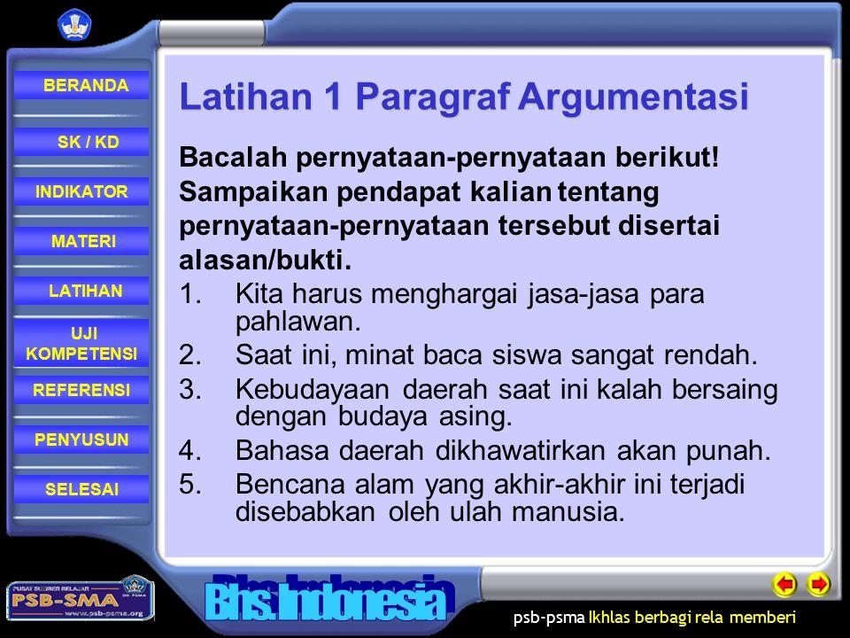 Latihan 1 Paragraf Argumentasi