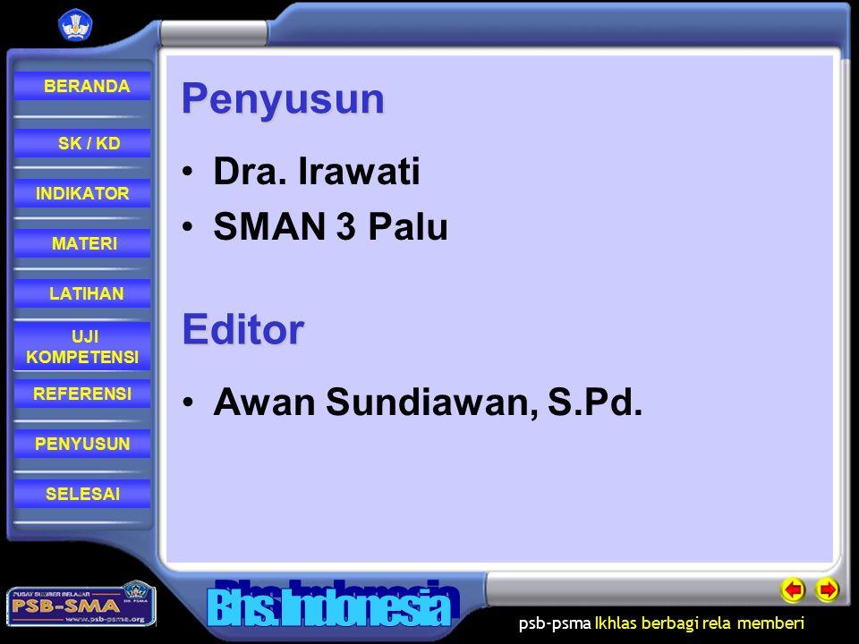 Penyusun Dra. Irawati SMAN 3 Palu Editor Awan Sundiawan, S.Pd.
