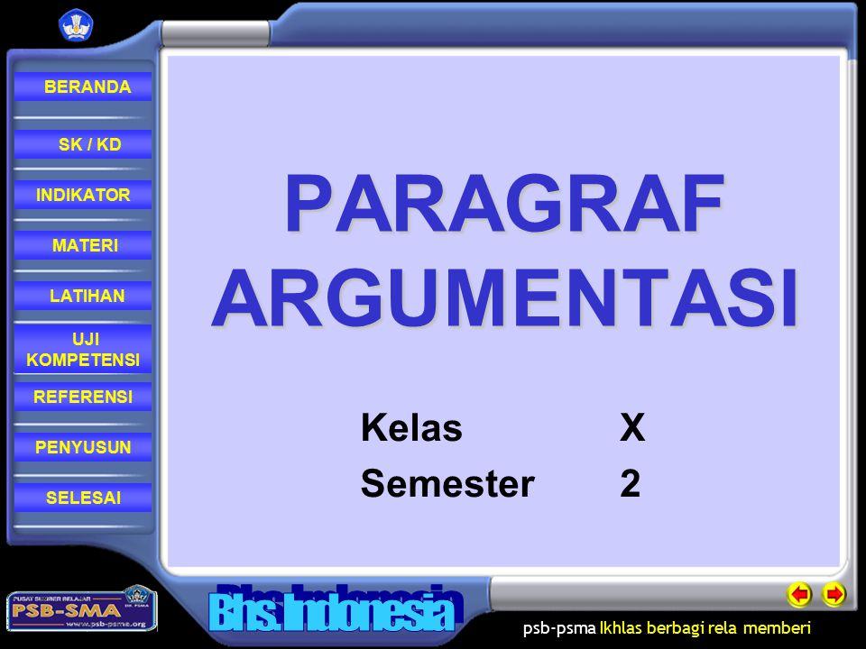PARAGRAF ARGUMENTASI Kelas X Semester 2
