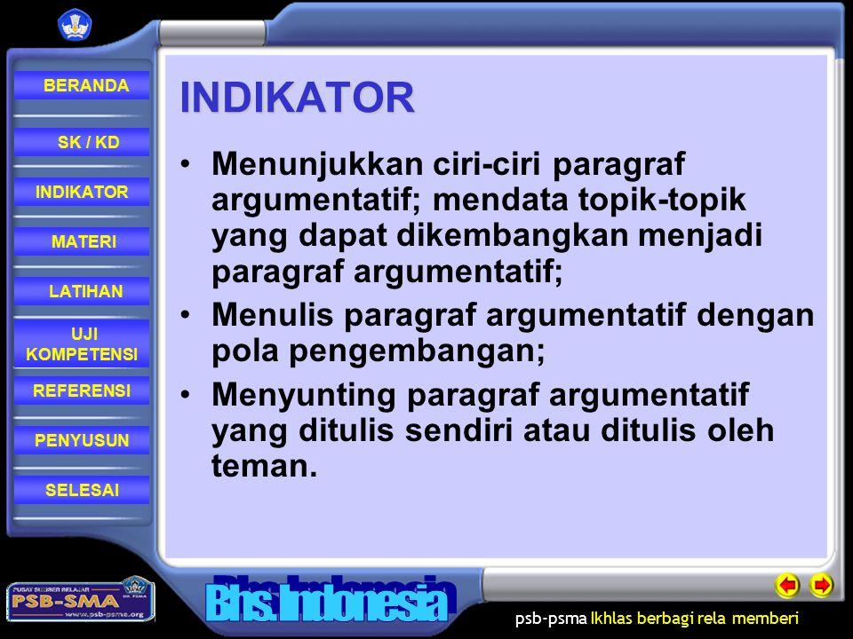 INDIKATOR Menunjukkan ciri-ciri paragraf argumentatif; mendata topik-topik yang dapat dikembangkan menjadi paragraf argumentatif;