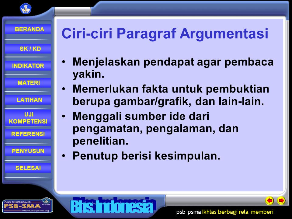 Ciri-ciri Paragraf Argumentasi