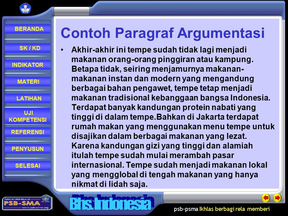 Contoh Paragraf Argumentasi