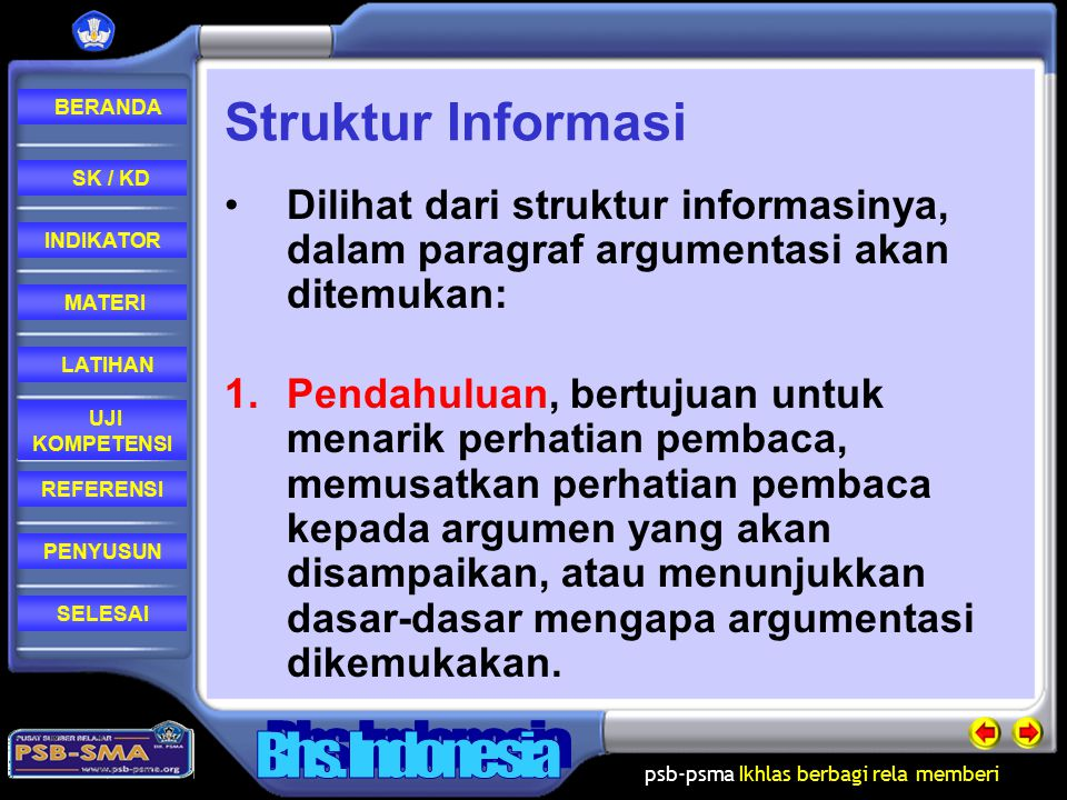 Struktur Informasi Dilihat dari struktur informasinya, dalam paragraf argumentasi akan ditemukan: