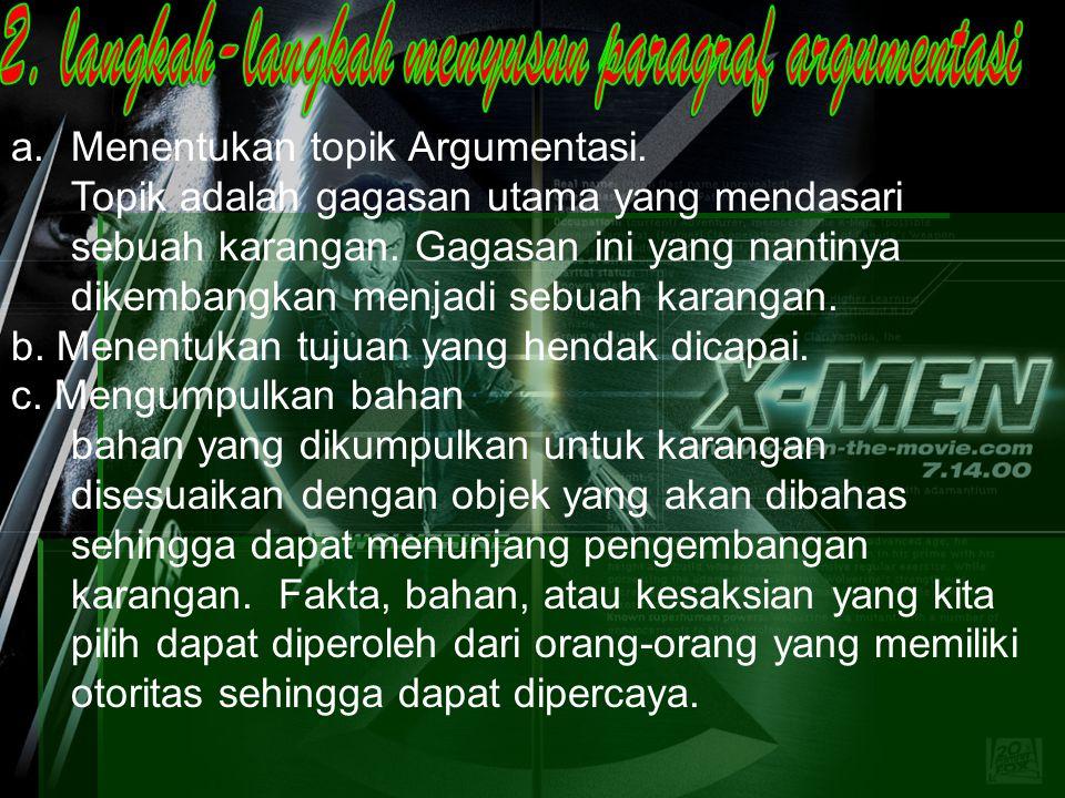 2. langkah-langkah menyusun paragraf argumentasi