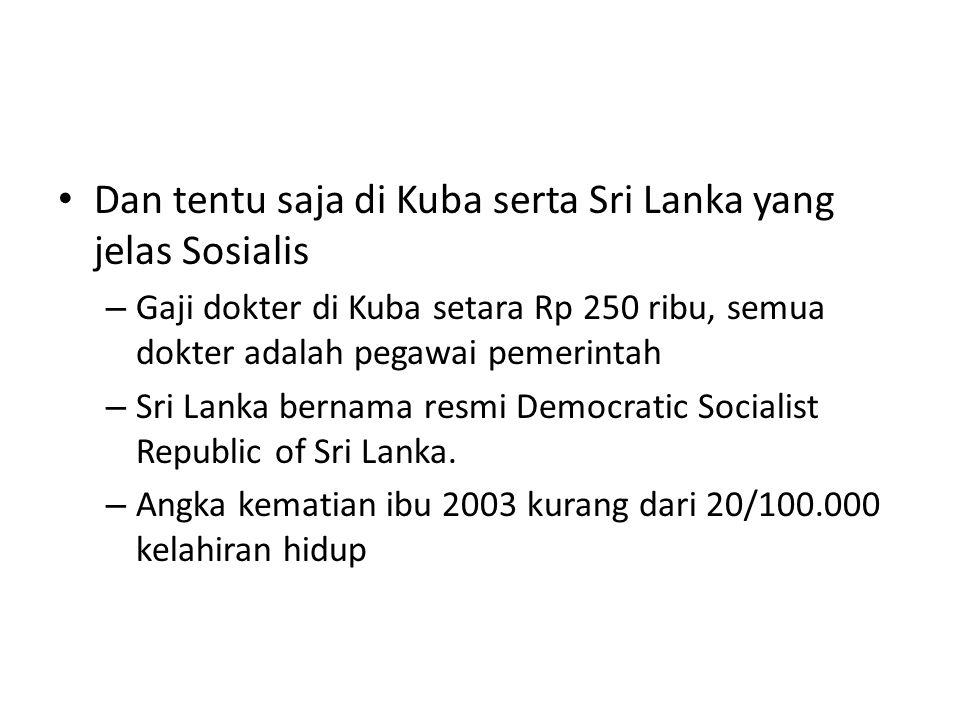 Dan tentu saja di Kuba serta Sri Lanka yang jelas Sosialis