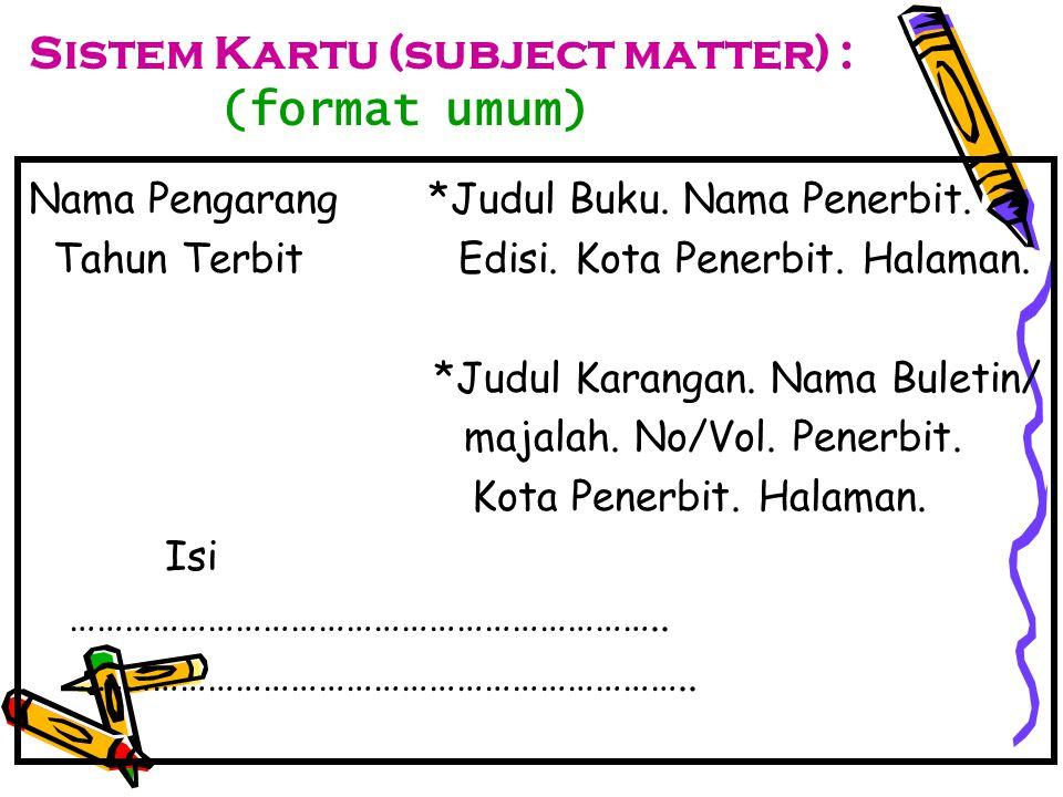 Sistem Kartu (subject matter) : (format umum)