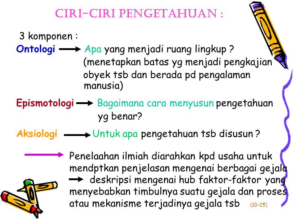 Ciri-ciri pengetahuan :