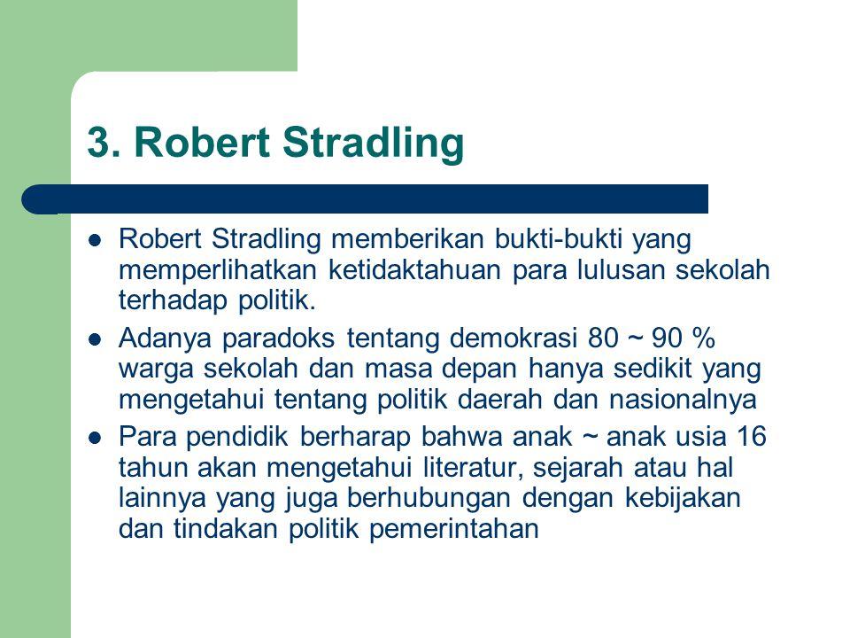 3. Robert Stradling Robert Stradling memberikan bukti-bukti yang memperlihatkan ketidaktahuan para lulusan sekolah terhadap politik.