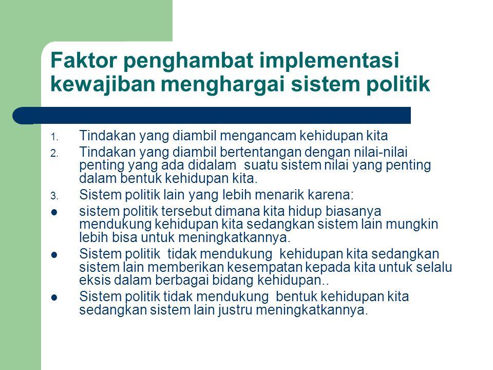 Faktor penghambat implementasi kewajiban menghargai sistem politik